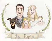 Custom Watercolor Portrait, Couple Illustration, Family Portrait, Custom Portrait illustration Couple Gift Newlywed Fathers Day Gift Wedding