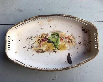 Pretty French Vintage 1930s chippy enamel tray