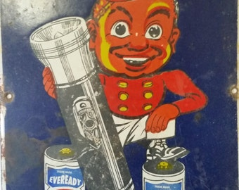 Vintage Enamel Eveready torch sign
