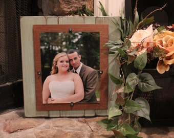 Handcrafted 8x10 distressed wood picture frame ready to ship- makes a grrat housewarming or wedding gift