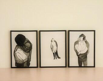 Art, Portrait, Nu, encre de Chine de Linette Cajou femme corps calligraphie, dessin, peinture, é in you II illustration print