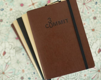 Commit30 Undated/Academic Daily Planner & Goal setting notebook - Brown, Gold or Black cover options!
