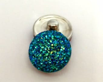 18mm Teal Iridescent Snap Charm