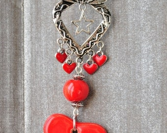 Necklace heart red earthenware