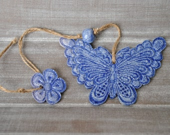 Suspension blue butterfly and flower earthenware