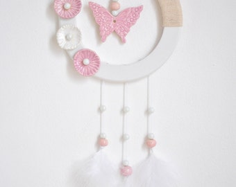 decoration wall Butterfly earthenware pink