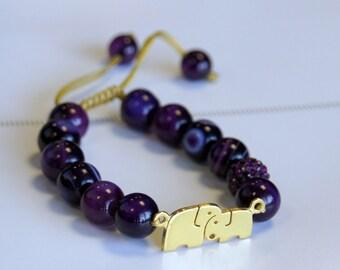 Gold plated Elephants Carnelian Agate Bracelet
