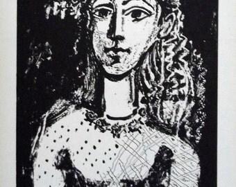 PABLO PICASSO 1956 Lithograph +COA after Jeune fille, 1949 Picasso Exclusive Art Print. Unique Gift Idea of Very Rare Art. Exclusive Present