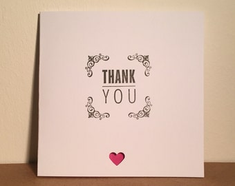 Heart thank you card (pack of 5)