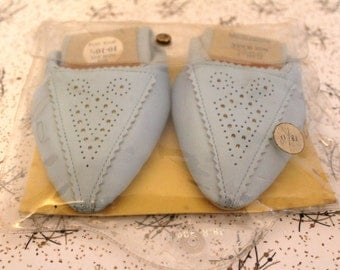 Amazing Vintage Pretty Polly 1960s slipperettes! Blue Slippers/Fold Away Ballet Pumps! In Original Packaging! Never Been Worn! UK 5
