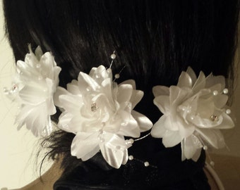 3pcs Bridal hair flower bridal white flower hair pin hair accessories bridal hairwear