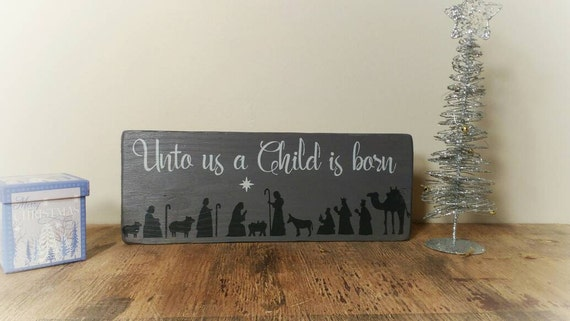 Christmas Wood Sign Nativity Scene Religious Decor