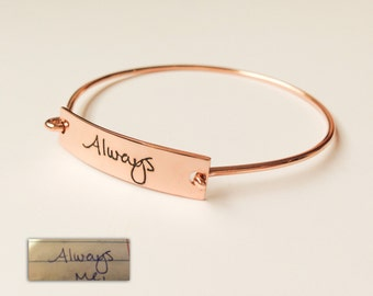 Handcrafted Handwriting Bangle - Signature Bracelet - Custom Handwriting Name Bracelet - Sterling Silver / 18K Gold Plated/ Rose Gold Plated