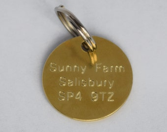 Engraved Pet Dog Cat Tag Pendant Personalised 25mm Disc with Split O Ring In Brass or Nickel