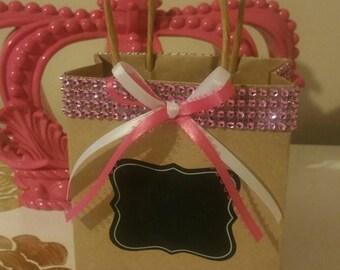 Pink Paradise Embellished Kraft Favor Bag set of 25