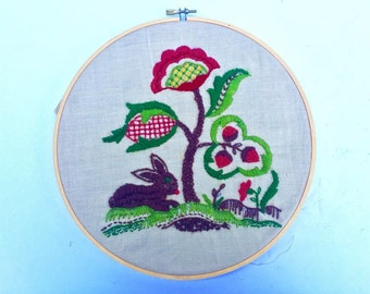 Vintage 1960s Hand Embroidered Artwork