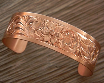 "Hand Engraved ""Western Bright-Cut"" Copper Bracelet"