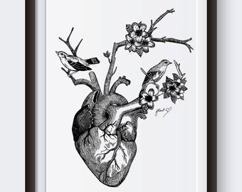 Ornate Wild At Heart Illustration Print