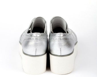Silver Ohford Shoes White Platformed