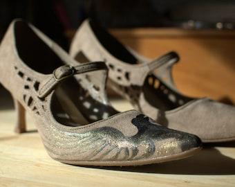 Raven Maven Handpainted, Upcycled Heels