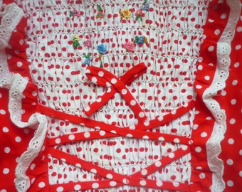 Vintage girls dress Hand smocked girl dress Soviet dress Polka dot dress Red dress for girl Embroidered dress Russian dress Party girl dress
