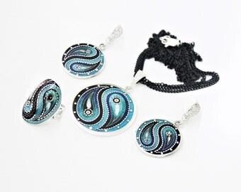 Cloisonne enamel necklace, ring, earrings