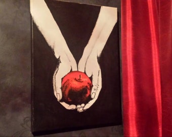 Hand painted red apple canvas