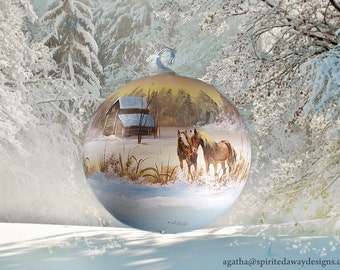 Hand Painted Christmas Equine (Horse) Ornament