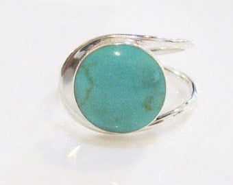 Turquoise Ring, Sterling Silver Ring, Adjustable Ring, Unique Turquoise Jewelry,December Birthstone, Silver Ring, Gemstone Ring, 925 Silver