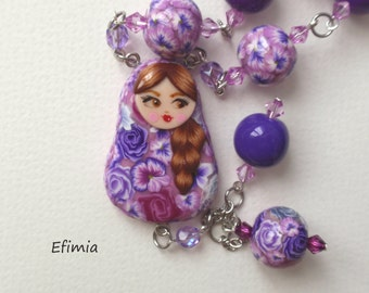 Necklace doll Russian tones purple, violet, lilac, grey polymer clay