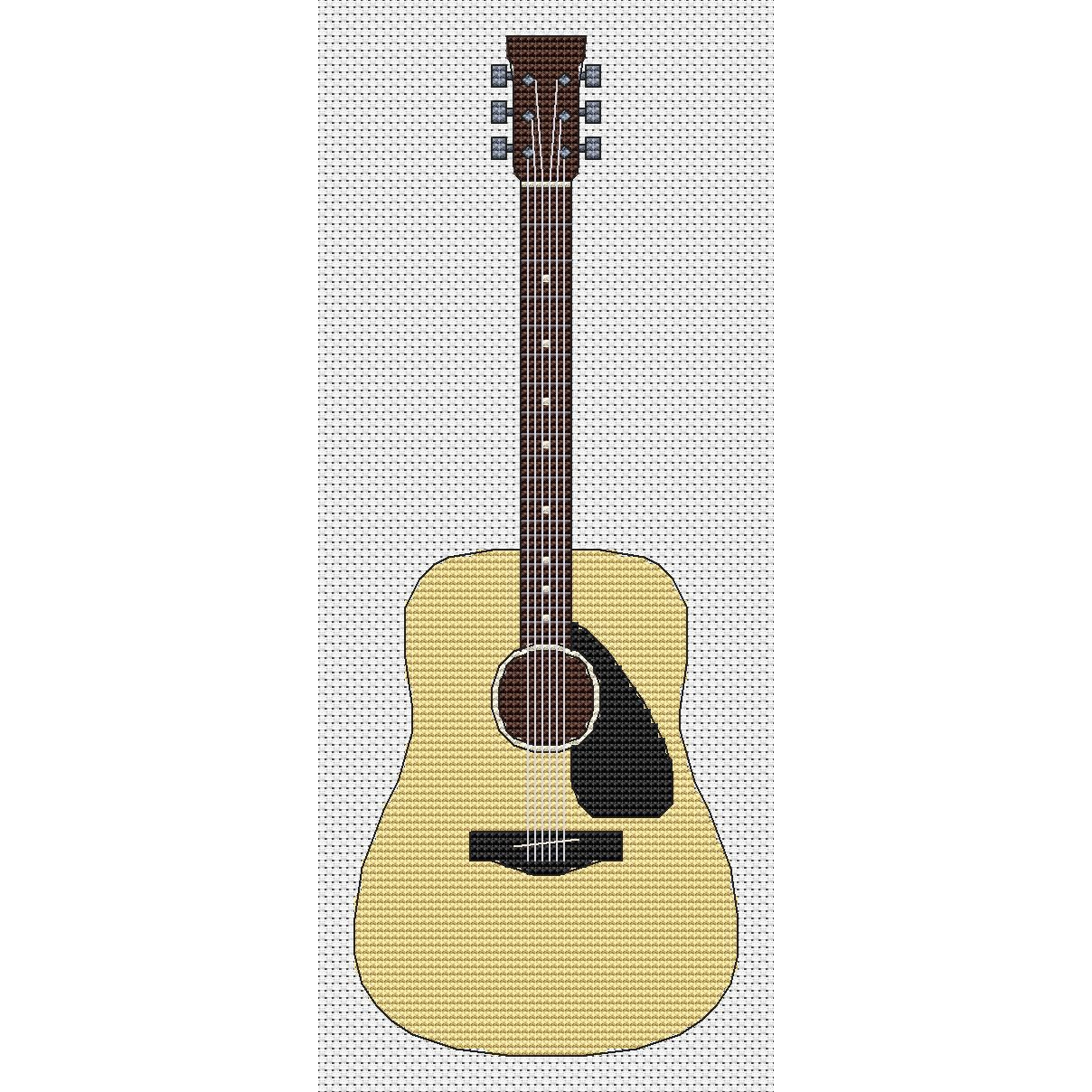 Acoustic Guitar Cross Stitch Design By Elite Designs