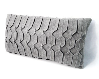 Grey felt pillow / geometric pillow / handmade / arabic geometrical pattern