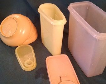 Vintage Tupperware, Vintage Dry Food Canister, Tupperware Dry Food Canister, Tupperware, Dry Food Canister, 10 Piece, Tupperware Bowls
