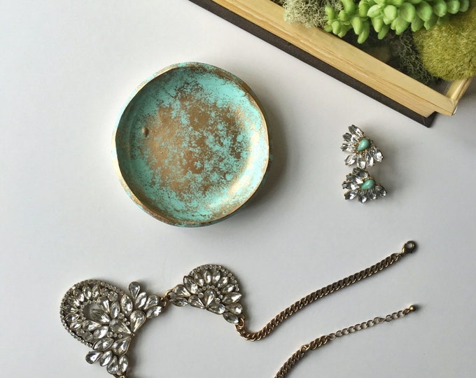 TURQUOISE DISTRESSED // Handmade Polymer Clay Jewelry Dish, Ring Dish, Trinket Dish