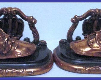 Bronze Plated Baby Shoes Metal Bookends - Endearing