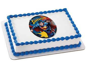 Superman Edible Cake  & Cupcake Topper (Free Personalization)