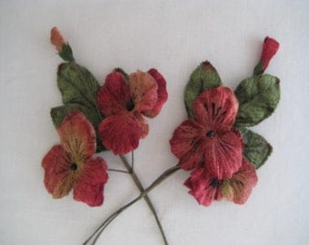 Millinery flower pansies 4 large velvet flower heads Watermelon Red for Altered Art, Corsages, Brooches, Millinery