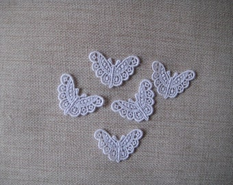 5 Butterfly White Appliques Venise Lace for Bridal, Garters, Scrapbooking, Jewelry or Costume Design