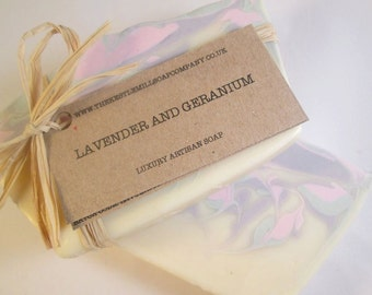 Lavender and Geranium Soap, Natural, Cold Process, Handmade in Cornwall, Pure Essential Oils