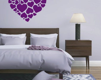 Love Hearts - vinyl wall art graphics sticker 25 colours to choose