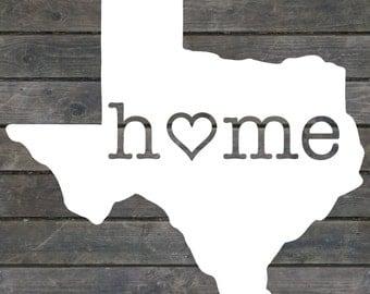Texas Home/Heart Decal