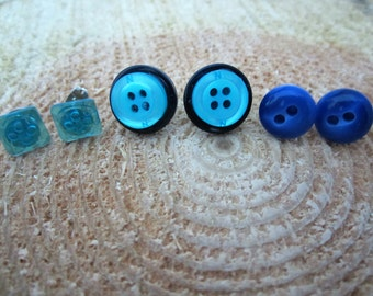 Button post earrings turquoise and blue set