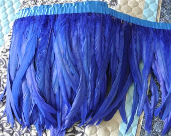 rooster hackle feather fringe trim 5 yards of royal blue  color 12-14inch in wide