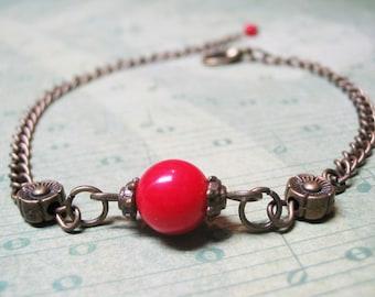 Red Coral Bracelet Vintage Bracelet Minimalist Bracelet Gemstone Beaded Bracelet Dainty Bracelet Delicate Bracelet Romantic Bracelet