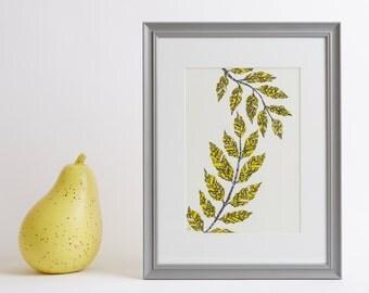 Framed Yellow Leaves Print