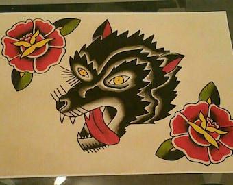 Wolf head Tattoo Flash