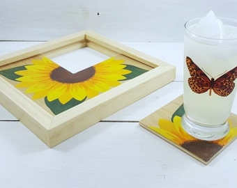 Gift For Her - Housewarming Gift - Sunflower Coaster Set - Hand Painted Coasters - Bridal Shower Gift - Sunflower Decor