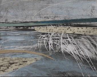 Abstract seascape, Yorkshire, coast, waves, sea, blue, mixed media, pastel, charcoal, graphite, Original Art Postcard 24, fine art, collage