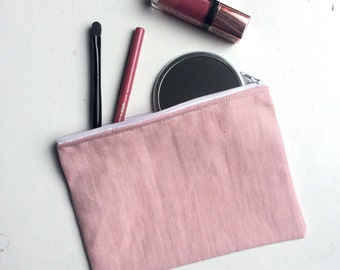 Blush pink flat make up bag // bridesmaid gift