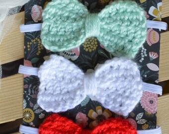 Crochet bow headband, baby bow, Crochet baby bow, Crochet bow, baby headband, newborn bow, newborn headband, Hair accessory, 3-pack